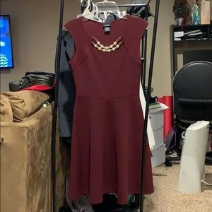 Rue21 Dresses - Maroon dress with built in necklace